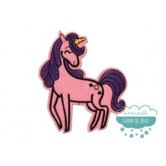 Parche bordado termoadhesivo - Serie Unicornio melena morada