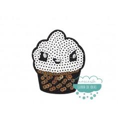Parche bordado termoadhesivo con lentejuelas - Serie Muffin