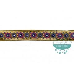 Pasamanería bordada con espejos - Serie Adriana