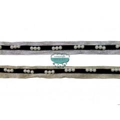 Pasamanería metalizada estilo yute con perlas - Serie Adela