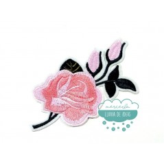 Parche bordado termoadhesivo - Flor rosa - Serie Creta
