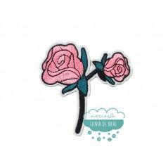 Parche bordado termoadhesivo - Flores pequeñas rosas - Serie Aide