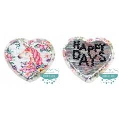 Aplicación lentejuelas reversible con forma de corazón - Serie Unicornio con flores