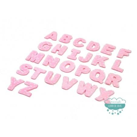 Parches bordados termoadhesivos - Serie Abecedario Mini (color rosa)