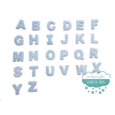 Parches bordados termoadhesivos - Serie Abecedario Mini (color azul)