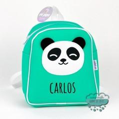 Mochila infantil personalizada - Panda color mint