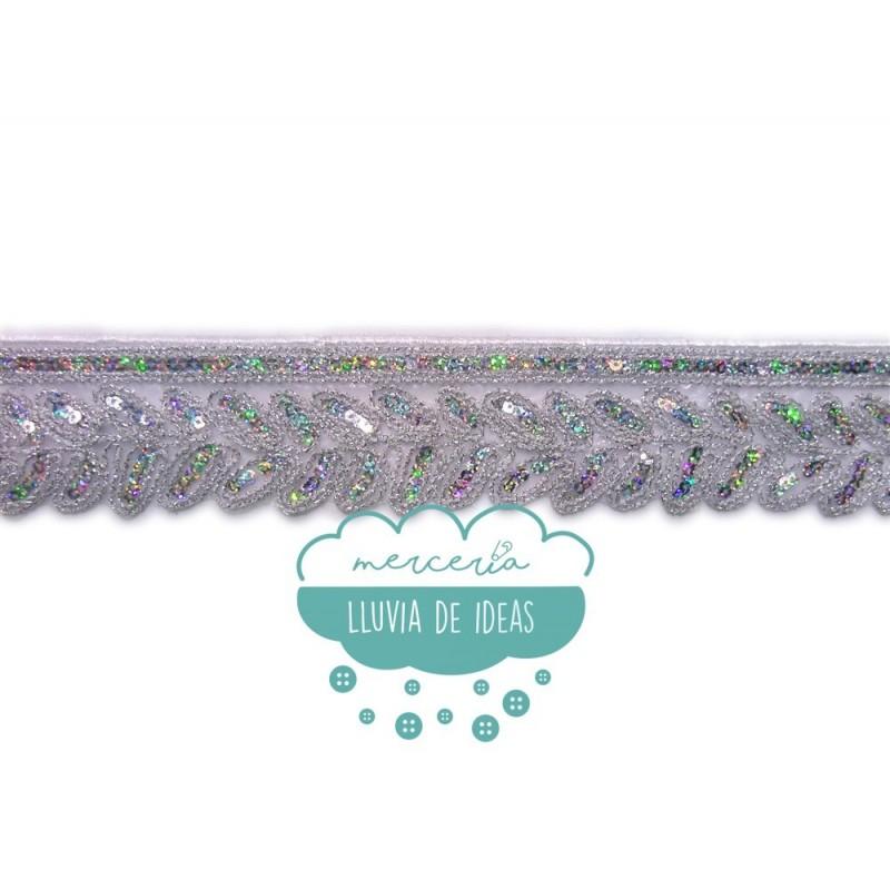 Pasamanería termoadhesiva bordada con lentejuelas - Serie Crisol
