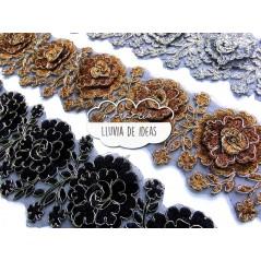 Pasamanería de flores bordadas - Serie Rosal