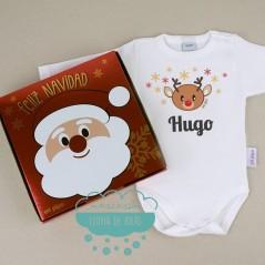 Caja regalo con Body Babidu - Reno Navidad personalizado