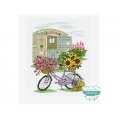 Kit punto de cruz DMC - Bicicleta Flores
