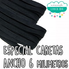Goma o cinta elástica plana dureza media ancho 6 mm. aprox. (Especial caretas) - Color negro