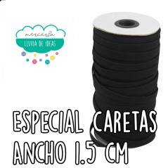 Goma o cinta elástica plana blanda ancho 1,5 cm. aprox. (Especial caretas) - Color negro