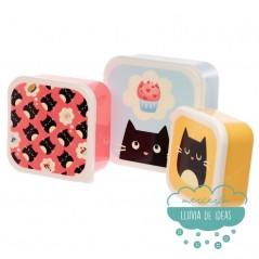Set de 3 fiambreras - Gato Feline Fine