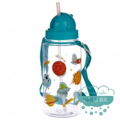 Botella infantil con correa y pajita - Diseño espacial