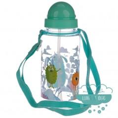 Botella infantil con correa y pajita - Monstruos