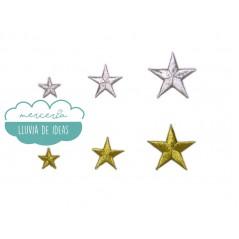 Aplicación bordada termoadhesiva metalizada - Serie Estrellas oro/plata