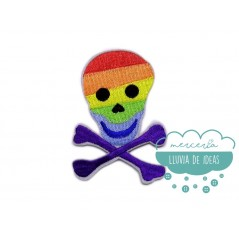 Parche bordado termoadhesivo - Calavera multicolor arco iris