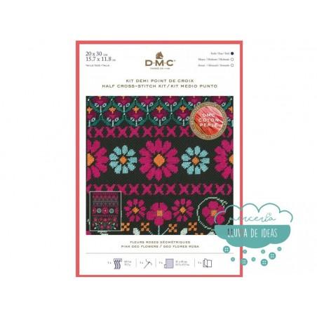 Kit de medio punto DMC - Flores rosas geométricas