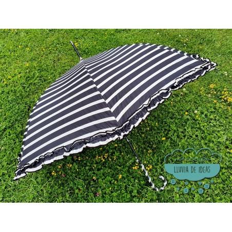 Paraguas automático antiviento - Rayas B&N