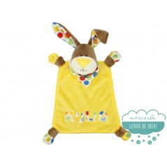 Kit de costura Kullaloo - Pañuelo o Doudou Conejito amarillo Kulio 35 cm.