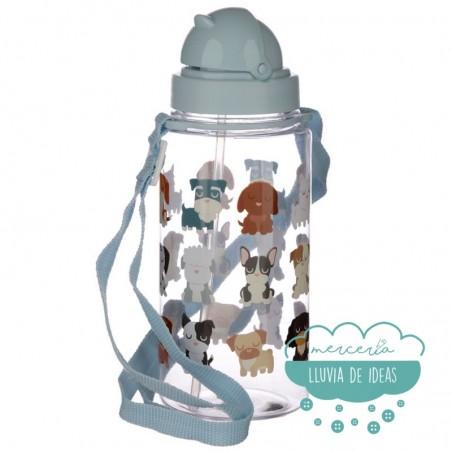 Botella infantil con correa y pajita - Perros Dog Squad