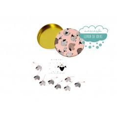Accesorios de tricot en caja metálica Ovejitas rosa - DMC