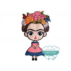 Parche Frida Kahlo Bordado Termoadhesivo con lentejuelas - Flores