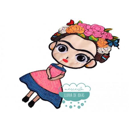Parche Frida Kahlo Bordado Termoadhesivo con lentejuelas - Flores y mariposas