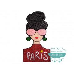 Parche Mujer Bordado Termoadhesivo con lentejuelas - París