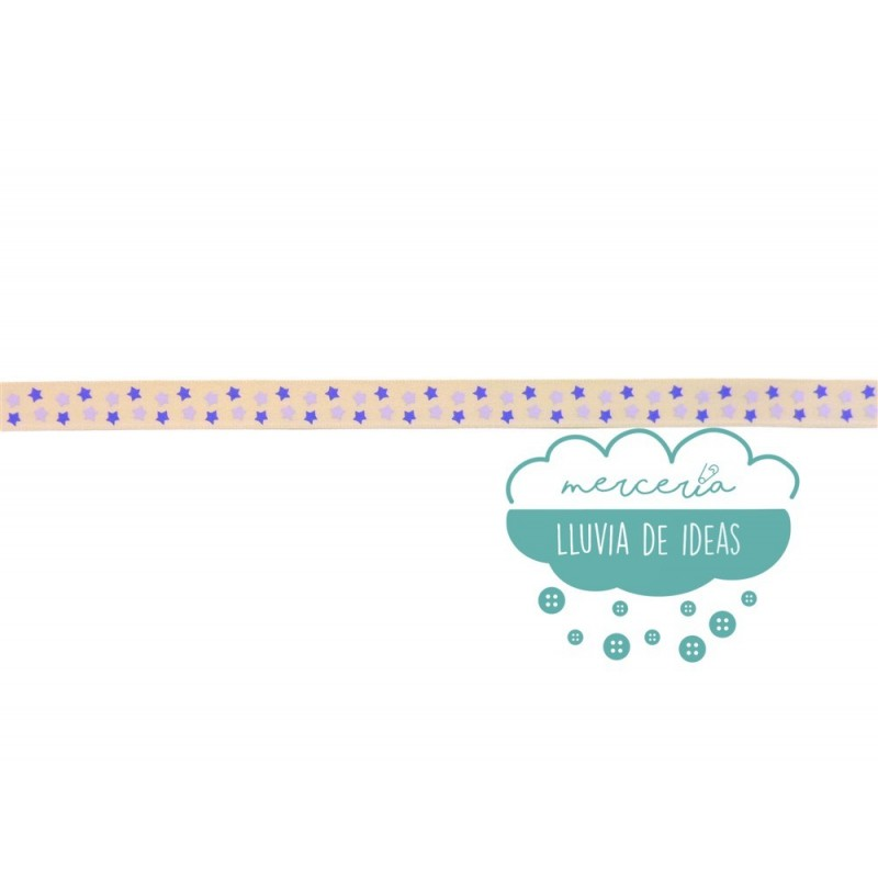 Cinta decorativa estampada - Estrellas azules